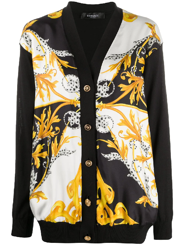 Versace Baroque-print Buttoned Cardigan In Black