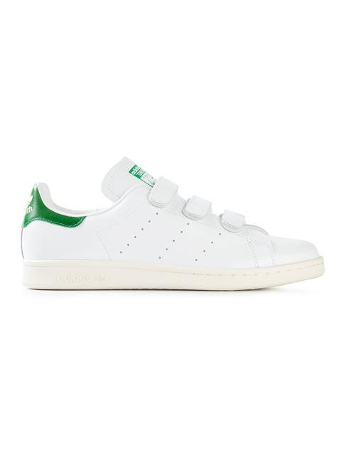 Adidas Originals Stan Smith Strap Leather Sneakers In White/green