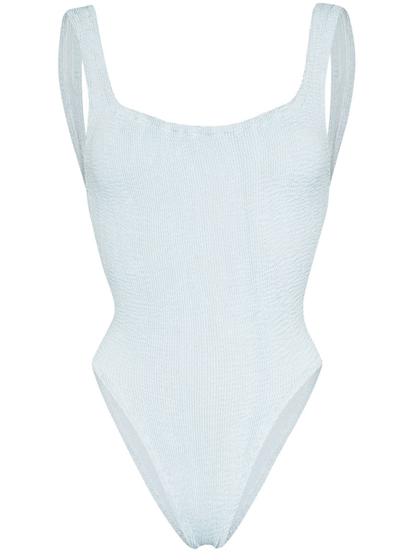Hunza G Square Neck Crinkle Swimsuit In Blue