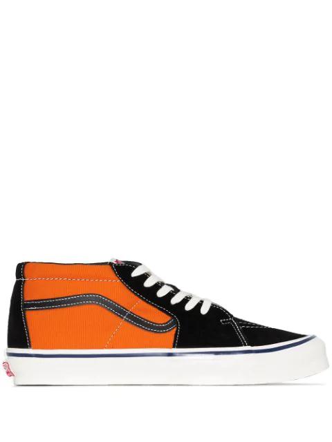 Vans And Black 8oz Sk8 Canvas Sneakers In Orange