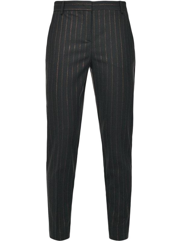 Pinko Pinstripe Straight-leg Trousers In Black