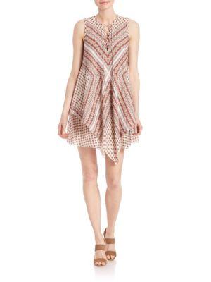 Derek Lam Lace-up Layered Silk Dress In Cream-multi