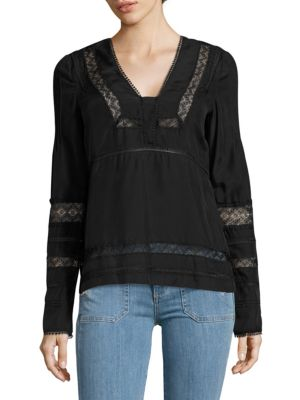 Derek Lam V-neck Lace Top In Black