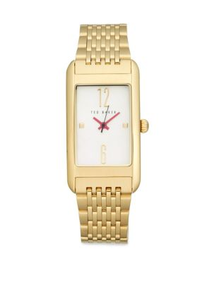Ted Baker Mother-of-pearl Rectangular Bracelet Watch In Gold