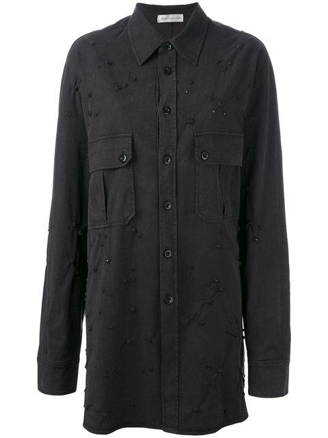 Faith Connexion Embellished Shirt Jacket - Black