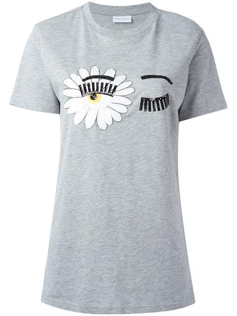 Chiara Ferragni Eye Print T-shirt In Light Grey