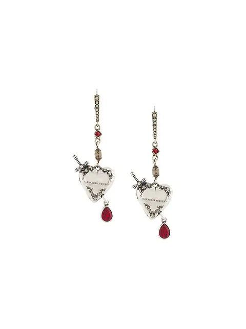 Alexander Mcqueen Heart And Dagger Drop Earrings In Metallic