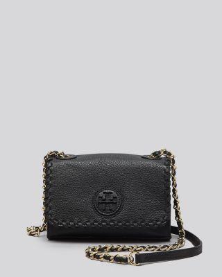 367d6cb66839 Tory Burch Marion Shrunken Shoulder Bag In Black Gold
