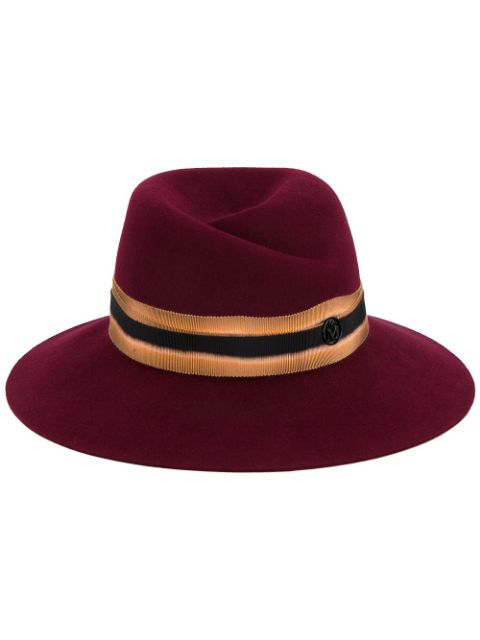 Maison Michel Cherry Red Virginie Contrast Band Fedora Hat In Dark-red