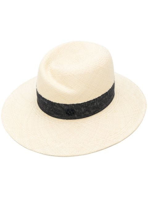 0d7a98e06 'Virginie' Ribbon Band Panama Straw Fedora Hat in Neutrals