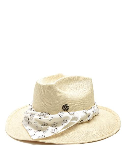 Maison Michel Lucky Dart In My Heart Straw Hat In Beige Multi