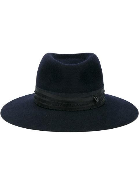 Maison Michel Blue Felt Charles Hat In Black