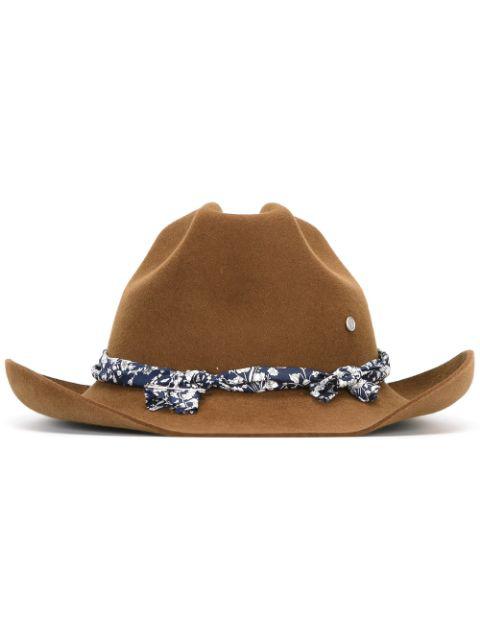 Maison Michel Lucky Rabbit-fur Felt Cowboy Hat In Sepia-brown
