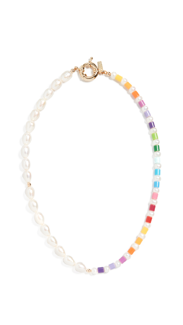 "Eliou Thasos Rb"" Necklace"" In Pearl/rainbow"