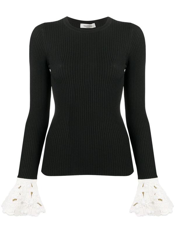 Valentino Women's Jersey Contrast Ruffle Top In Black