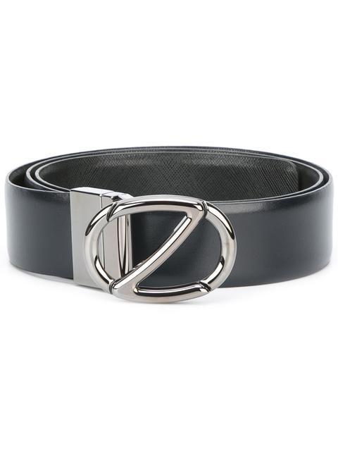 Z Zegna Logo Buckle Belt