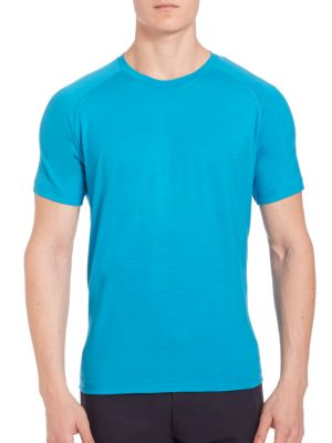 Z Zegna Techmerino Crewneck Tee In Teal