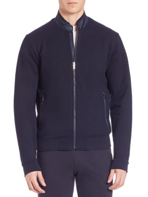 Z Zegna French Terry Zip Jacket In Dark Blue