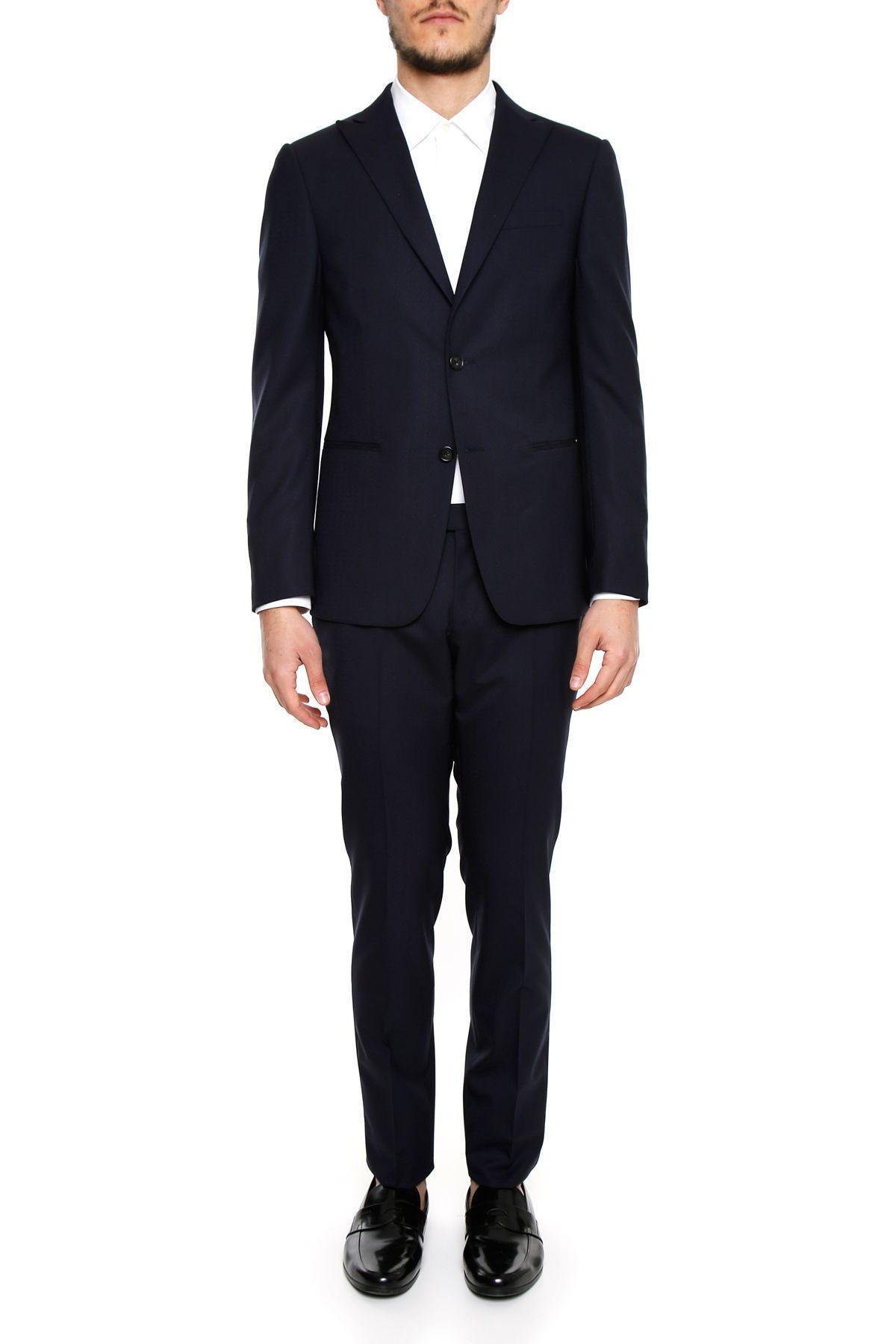 Z Zegna Two-piece Suit In Navy Sldblu