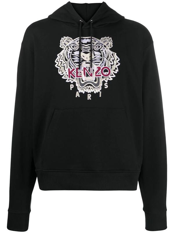 Kenzo Tiger Print Hoodie In Black