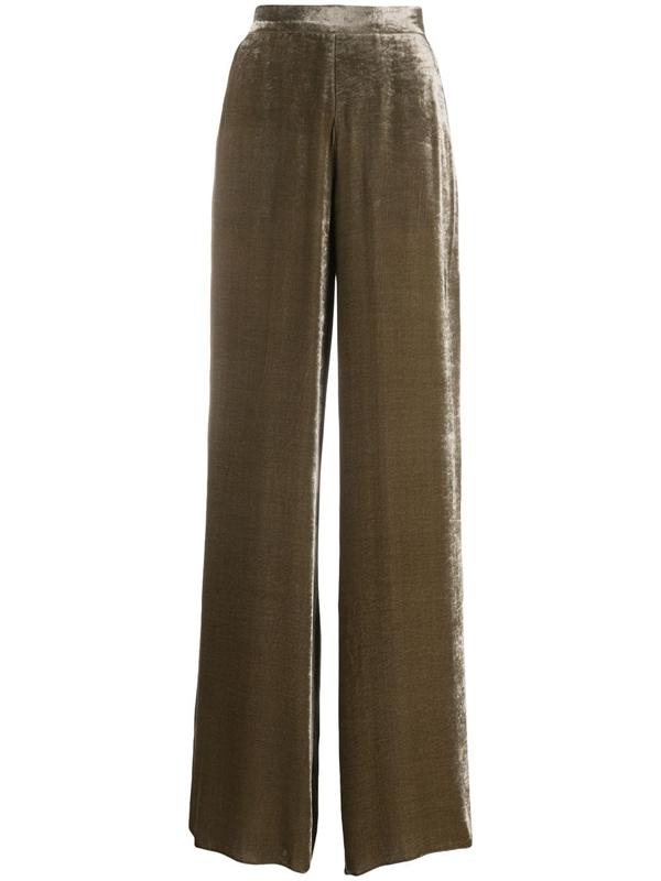 Etro High-rise Velvet Wide-leg Trousers In Neutrals