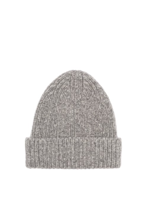 Acne Studios Kabelo Ribbed Wool-blend Beanie Hat In Grey