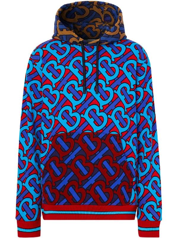 Burberry Manslow Tb-print Cotton-jersey Hooded Sweatshirt In Blue