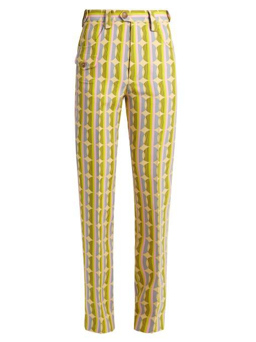 Miu Miu Circle Striped-print Wool-blend Trousers In Yellow