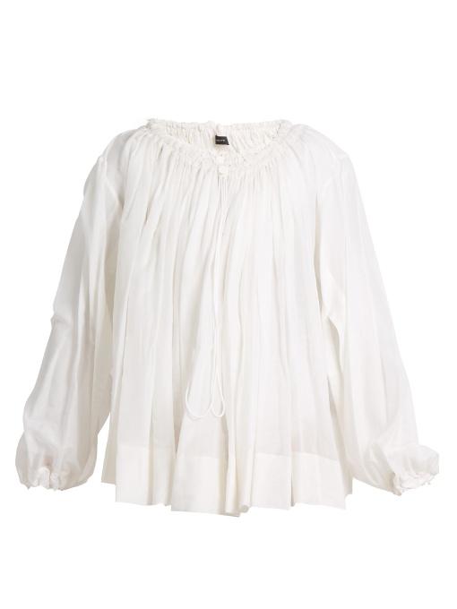 Joseph Drawstring-neck Cotton-blend Blouse In White