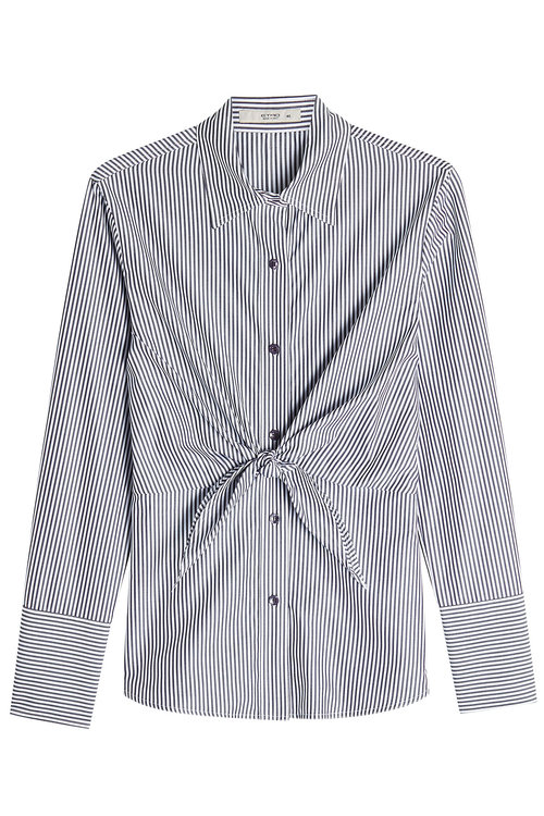 Etro Striped Cotton Shirt With Knotted Front In Stripes