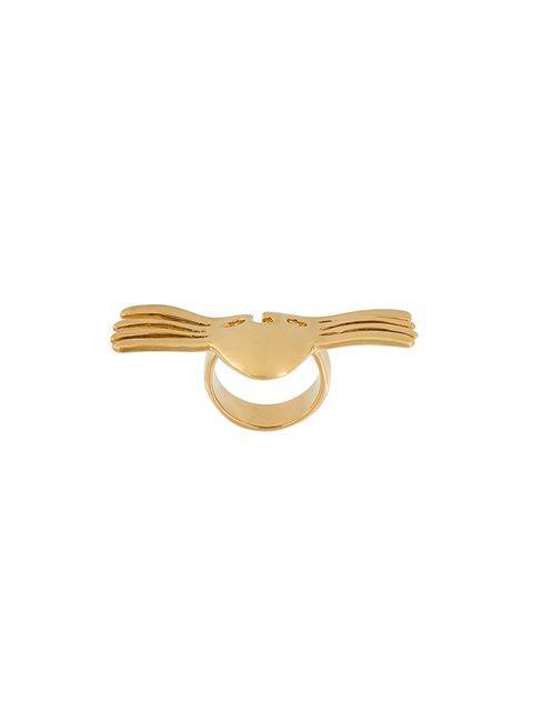 Aurelie Bidermann 'melina' Winged Mask Ring In Gold