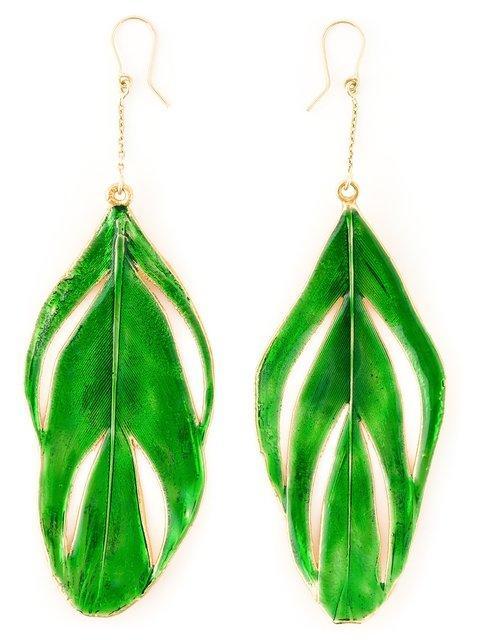 Aurelie Bidermann 'swan' Feather Earrings In Green