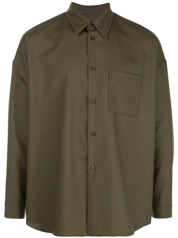 Marni Wool Long Sleeve Shirt In Green