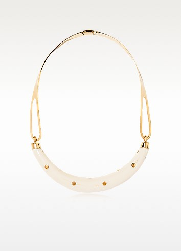 Aurelie Bidermann Studded Caftan Gold Plated And Resin Horn Moon Necklace In Beige/gold