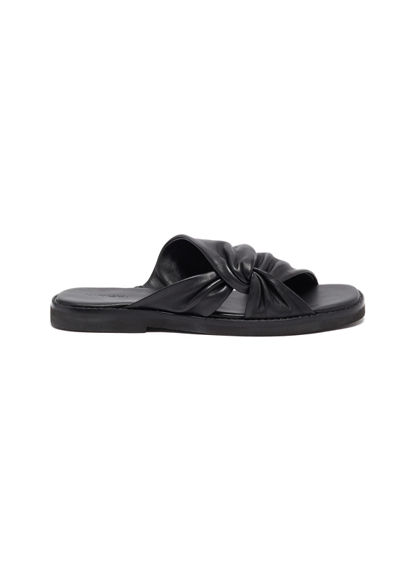 Vince Marli Knotted Leather Flat Sandals In Black