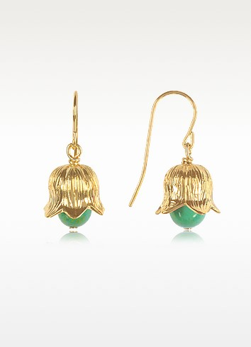 Aurelie Bidermann 18k Gold-plated Lily Of The Valley Earrings W/turquoise In Yellow