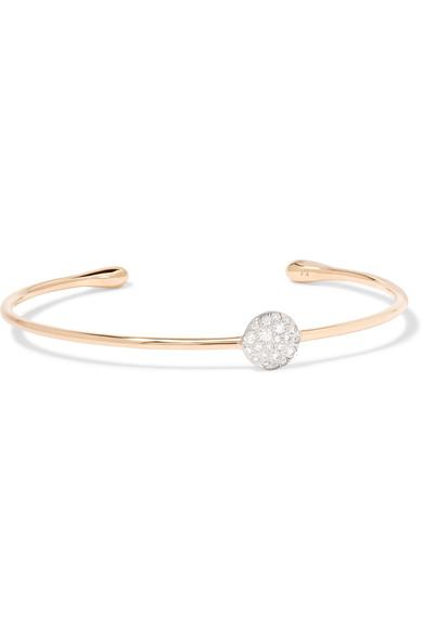 Pomellato Sabbia White Diamond Station Bracelet In 18k Rose Gold In Usd