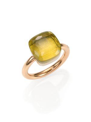 Pomellato Nudo Lemon Quartz & 18k Rose Gold Large Ring In Na