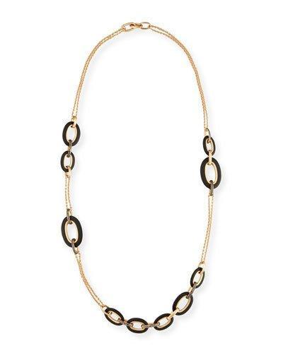 Pomellato Victoria 18k Rose Gold Black Diamond Link Necklace