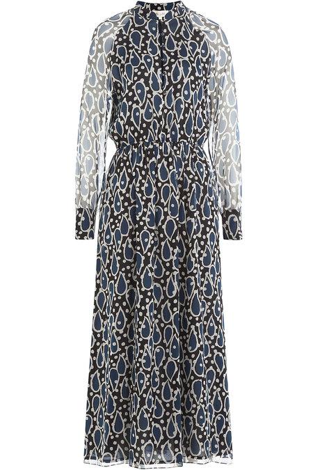 Paul & Joe Printed Silk Chiffon Midi Dress In Blue