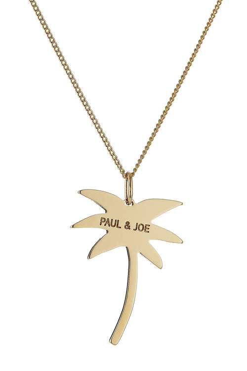 Paul & Joe Logo Palm Tree Necklace In Gold