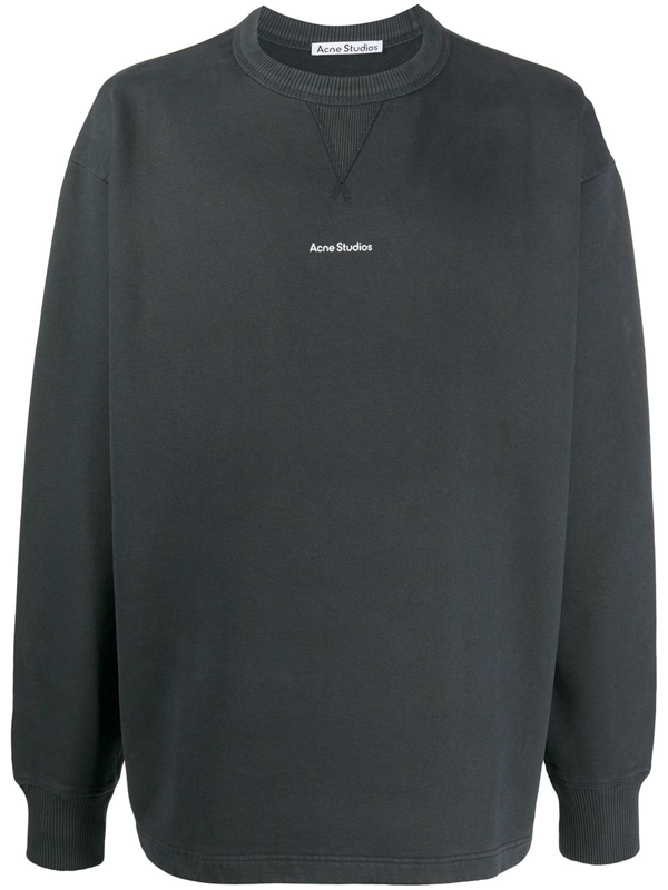 Acne Studios Logo-print Crew Neck Sweatshirt In Black