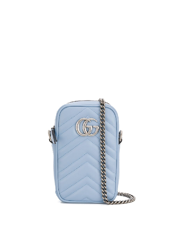 Gucci Gg Marmont Leather Mini Bag In Blue