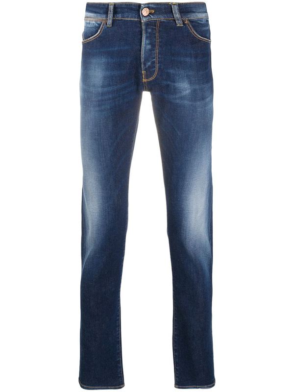 Pt01 Light-wash Fitted Jeans In Blue