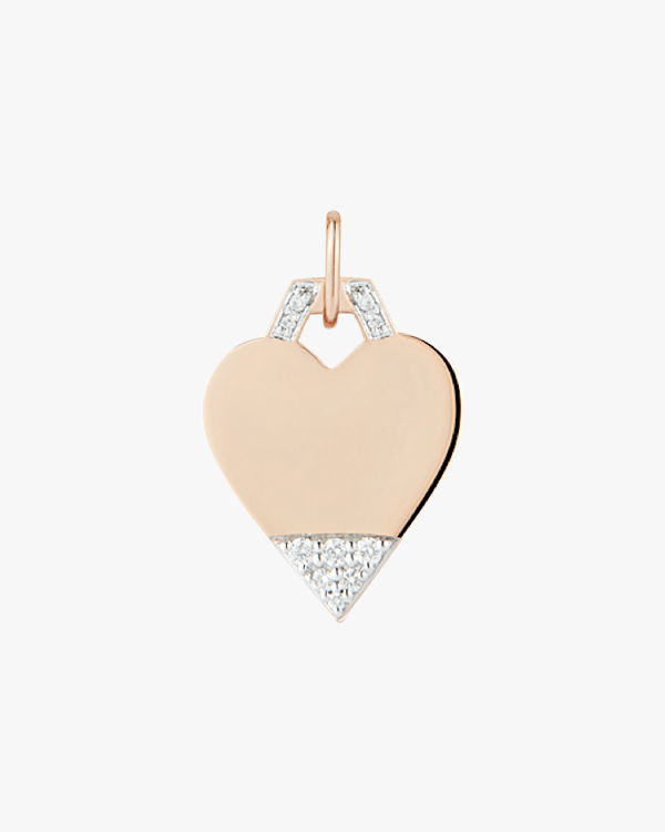 Walters Faith Engraving Only-pavé Mini Heart Charm   Rose Gold