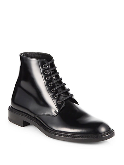 Saint Laurent Army Leather Lace-Up Ankle Boots In Black