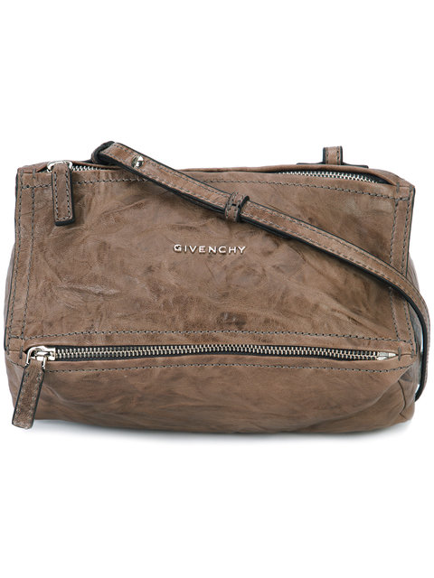 Givenchy Mini Pandora Washed Leather Shoulder Bag In Neutrals