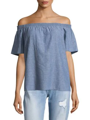 Joie Amesti Off-the-shoulder Linen Top In Chambray