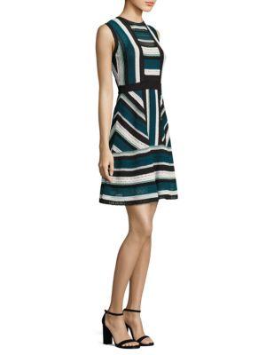M Missoni Sleeveless Lace Ribbon Knit Dress In Teal