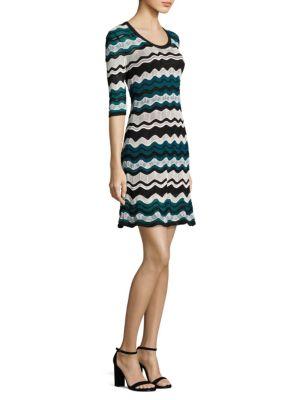M Missoni Scoop-neck Ripple-stitch Ribbon Knit Dress In Tan